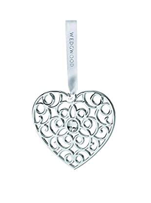Wedgwood Filigree Heart Ornament, Silver