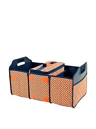 Picnic At Ascot Diamond Collection Trunk Organizer and Cooler Set, Orange/Navy