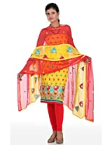 Vibrant yellow embroidery suit dupatta unstitched