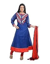 Sareeshut Women's cotton Regular Fit Anarkali Suits(SareesHutSKD45, Blue, 38)