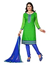 Manvaa Green And Blue Embroidered Suit With Chanderi Cotton Fabric