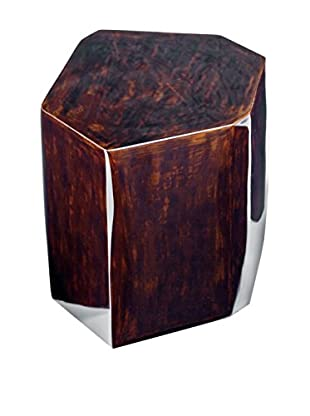 Home Philosophy Small Geo Drum Table, Brown