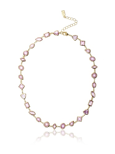 CZ by Kenneth Jay Lane Pink Multi-Shape Bezel Necklace