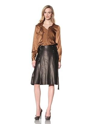 ALTUZARRA Women's Leather Skirt with Side Pleats (Black)