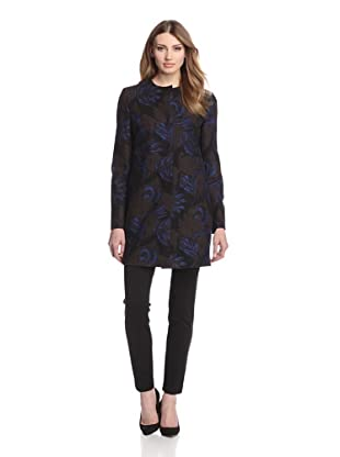 Les Copains Women's Collarless Brocade Coat (Black Print)