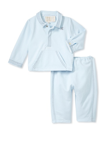 Emile et Rose Baby Boy's Two Piece Top With Emblem Stitch & Kangaroo Pocket, Trousers & Socks (Pale Blue)