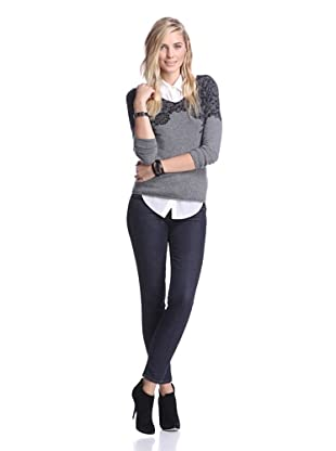 Kier & J Women's Lace V-Neck Sweater (Gris/Black)