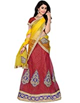Manvaa Red and Yellow Net Embroidered A-Line Semi Stitched Lehenga