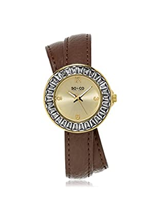 SO & CO Women's 5070.2 SoHo Brown/Gold Leather Watch