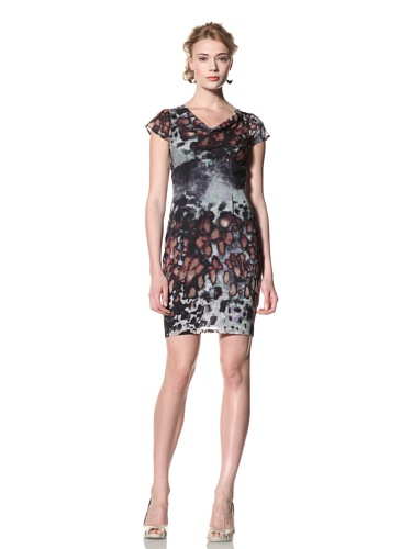 Andrew Marc Collection Women's Cap Sleeve, Draped Front Dress (Multi)