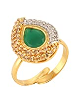 Dilan Jewels KNOWLEDGE Collection Emerald Green Silver & Gold Plated Fusion Party Cocktail Ring For Women