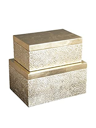 Couture Atwater Set of 2 Rectangular Boxes, Gold/White Cracked Eggshell/Gold Leaf