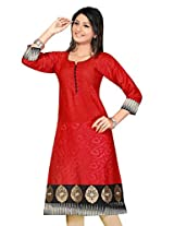 Brasso Long Computor Embroidery work fancy Kurtis (Size : Large)