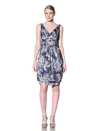 Lafayette 148 New York Women's Surplice Bubble Hem Dress (Nu Blue Multi)