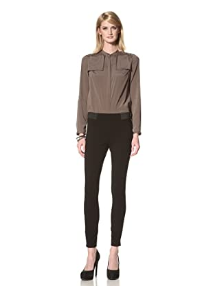 Les Copains Women's Jersey Legging with Elastic Detail on Back and Sides (Black)