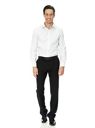 Vincenzo Boretti Baumwollhemd - Slim Fit, tailliert, kariert, bügelfrei (Weiß/Dunkelblau)