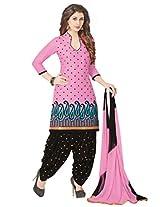 Salwar Studio Pastel Pink & Black Cotton Dress Material with Dupatta Royal Patiyala-5005