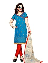 Vibes Womens Cotton Patch Work Straight Dress Material (V204-107 _Blue _Free Size)