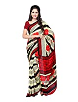 Ambaji Beige & Red Coloured Renial Printed Saree