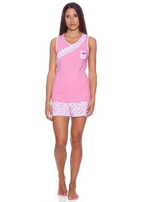 Kumy Pijama Señora Cruzado (Rosa / Blanco)