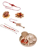Voylla Combo Pack Featuring Red Theme Rakhi and One Puja Thali