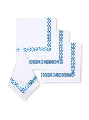Trina Turk Set of 4 Ogee Embroidered Napkins (Blue)