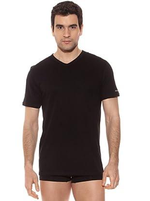 Kappa Camiseta mc Caballero Cuello Pico 100% Algodón (Negro)