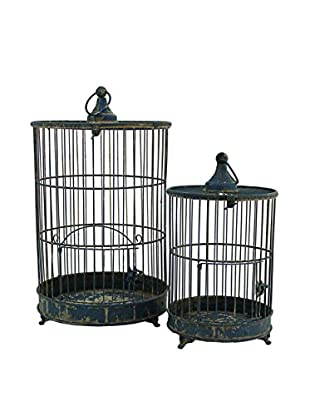The Import Collection Set of 2 Gideon Birdcages, Bluish Black