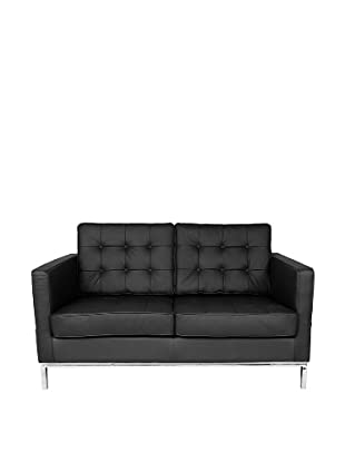 Control Brand Draper 2-Seat Leather Sofa, Black