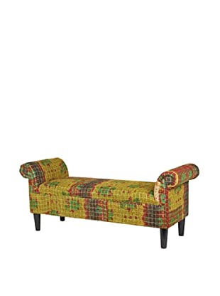 One of a Kind Kantha Roll Arm Bench, Olive Multi