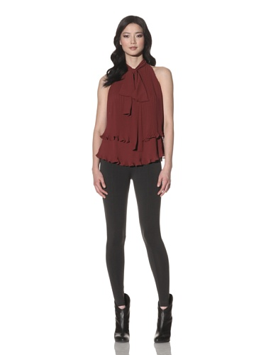 Foley + Corinna Women's Trapeze Tiered Pleated Blouse (Wine)