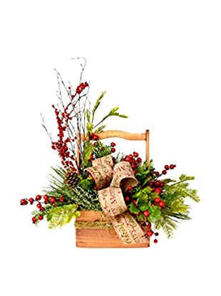 Creative Displays Festive Holiday Evergreen Basket, Red/Green/Tan