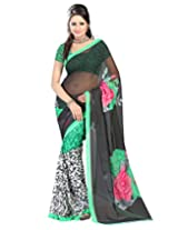 Fashiondeal Pretty Black Colour Georgette Saree With Unstitched Blouse