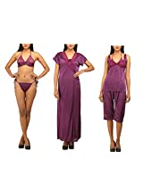 DesiHarem Sexy Nightwear Lingerie Bridal 6 Pc. Dark Purple Set