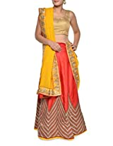 Luxe red and yellow combination lehenga set