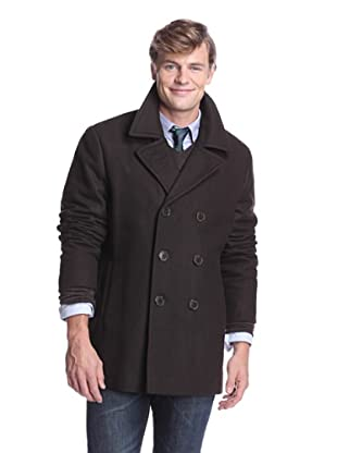Calvin Klein Men's Double-Breasted Pea Coat (Army Green)