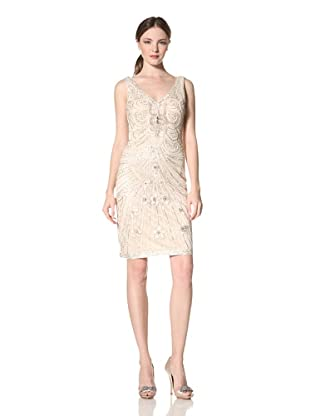 Sue Wong Women's Embroidered V-Neck Party Dress (Ant Champ)