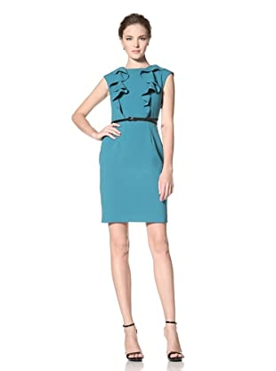 Calvin Klein Women's Cap Sleeve Dress with Ruffle Detail (Blue Spruce)