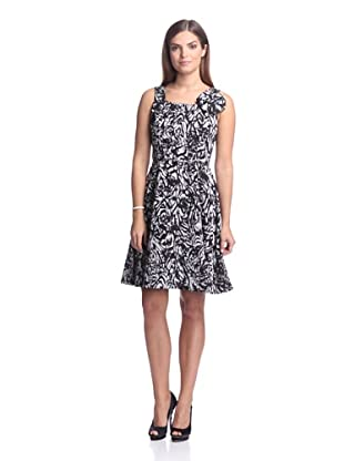 Chetta B Women's Burnout Dress with Bow (Black/Silver)