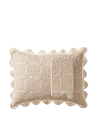 Mélange Home Pair of Handmade Crochet Standard Shams, Ivory