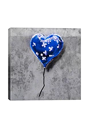 Banksy Bandage Heart Blue Gallery Wrapped Canvas Print