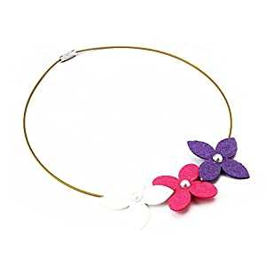 Chotee 3-Flower Necklace in Pink, White & Purple