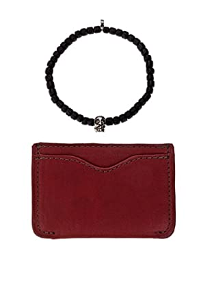 Men In Cities Red Wallet & Black Tibetan Mask Bead Bracelet Set