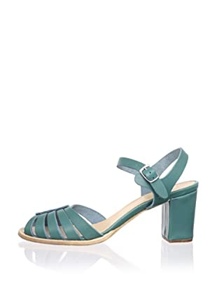 Swedish Hasbeens Women's Leather Peep-Toe Sandal (Turquoise)