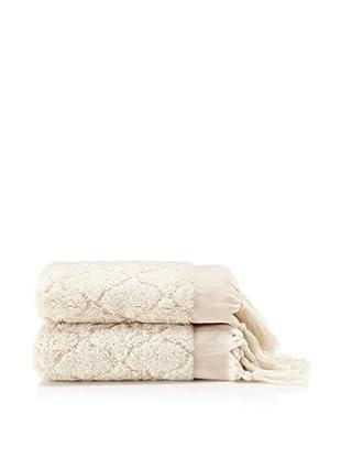 Pure Fiber Set of 2 Delight Hand Towels (Coral)