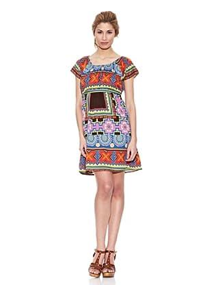 Peace & Love Vestido Cuello Redondo Estampado (Multicolor)