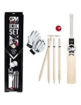 GM Icon Cricket Set with Gloves, Size 4