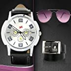 Cool Value Combo - Men's Watch, Sunglasses & Belt Combo By Gledati