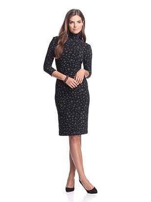 KAMALIKULTURE Women's Mock Neck Dress (Black/White)