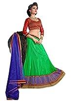 Suchi Fashion Green, Red and Blue Embroidery Border Work Net Semi Stitched Lehenga